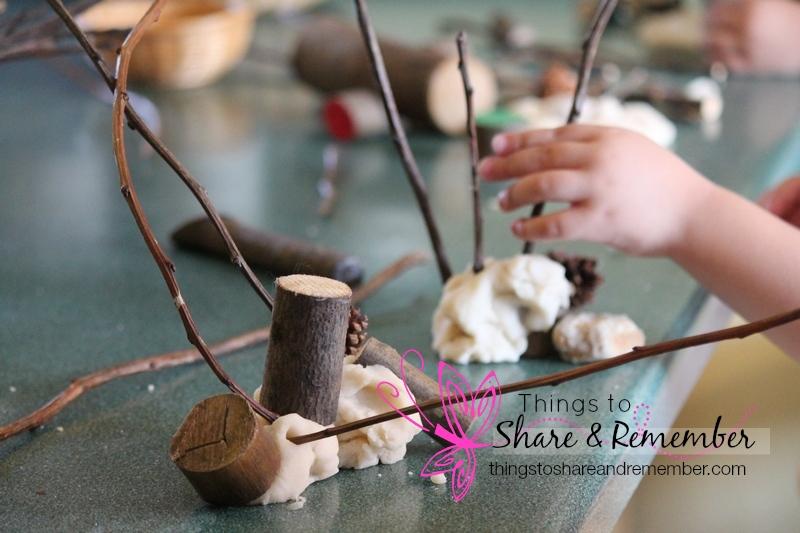 sticks pine cones rocks and play dough
