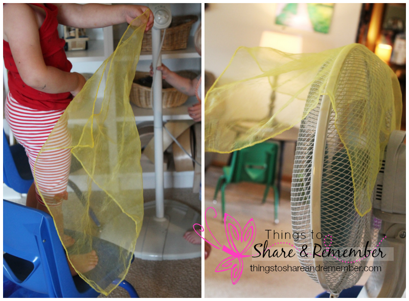 Learning about air with scarves & fan #MGTblogger
