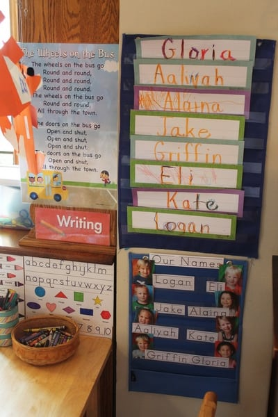 preschool writing center