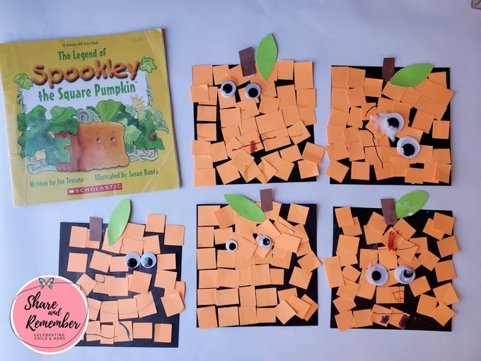 Group of Spookley the Square Pumpkin Craft with the book.