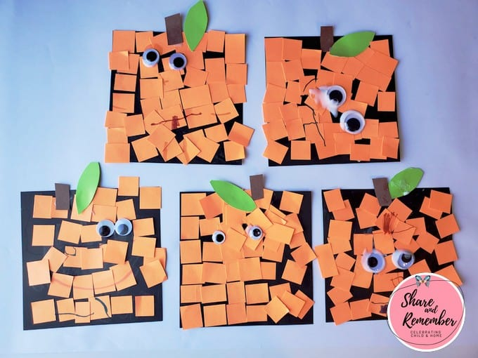 Spookley square shape craft made by children.