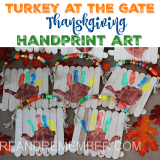 Turkey at the Gate Thanksgiving Handprint Art