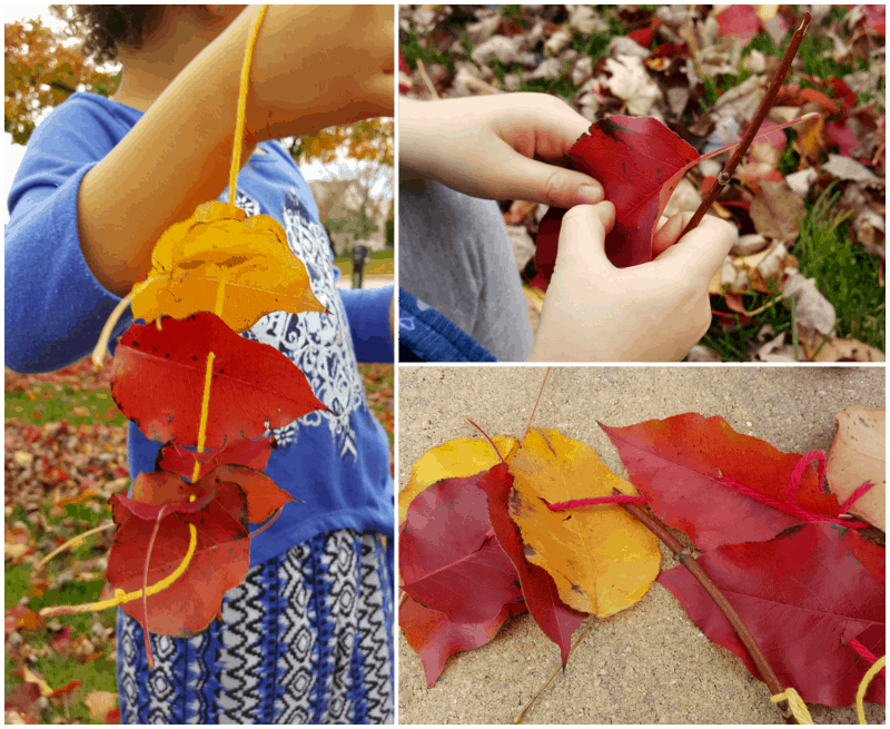 Make a Leaf Garland Fall nature activity for preschoolers builds fine motor skills- Share & Remember