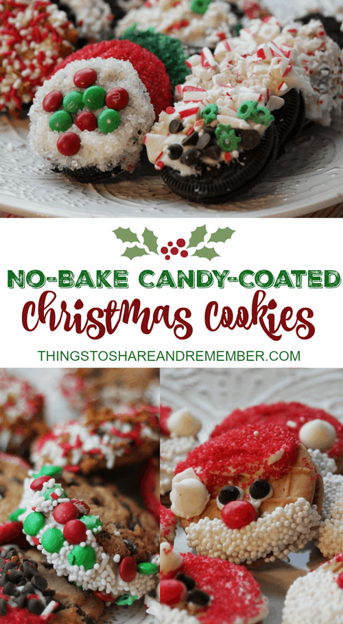 NO BAKE CANDY COATED CHRISTMAS COOKIES #GiftDeliciously
