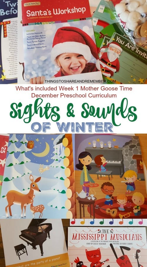 Sights and Sounds of Winter: What's included in the first week of Mother Goose Time preschool winter theme curriculum #MGTBlogger