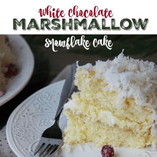 white chocolate marshmallow snowflake cake #SweetenTheSeason