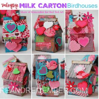 Valentine Milk Carton Birdhouses