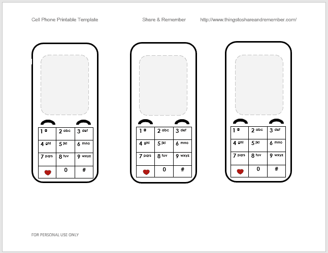 Cell Phone Printable Template