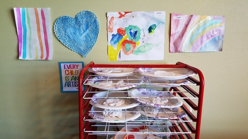 art drying rack in preschool