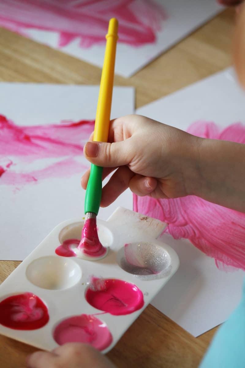 mixing paint in preschool