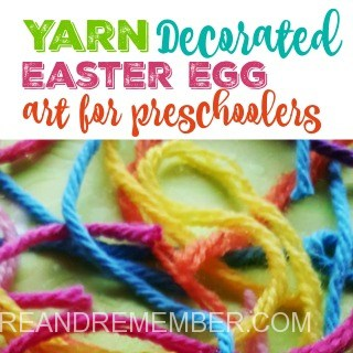 Yarn decorated easter egg art for preschoolers