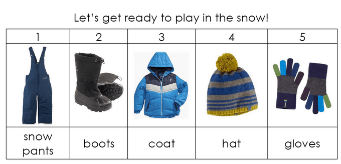 Snow Pants First Printable Sequence Chart