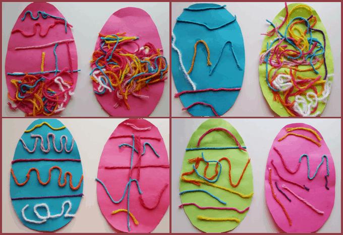 yarn decorated eggs preschool easter art