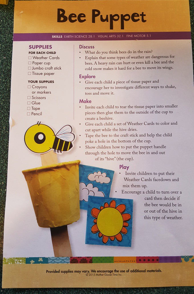 bee puppet In the Beehive activities