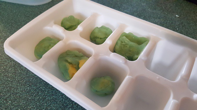 Play dough bees in a ice cube tray - In the Beehive