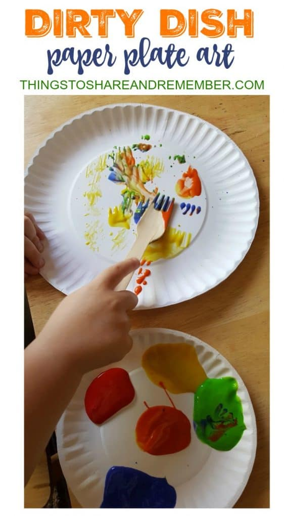 Dirty Dish paper plate art painting with a fork
