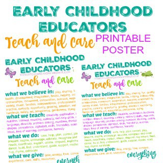 Early Childhood Educators TEACH & CARE Printable Poster