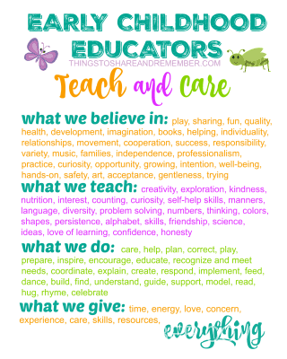 Early Childhood Educators TEACH & CARE Printable Poster from Share & Remember