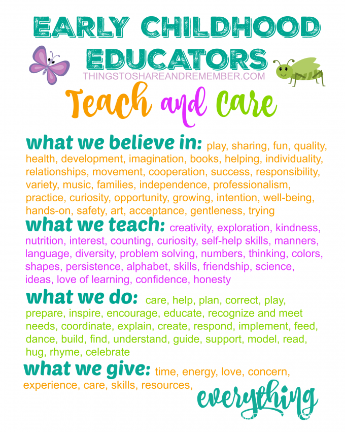Early Childhood Educators TEACH and CARE Printable Poster from Share & Remember