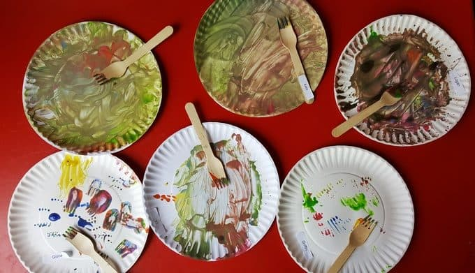dirty dish plate art in preschool
