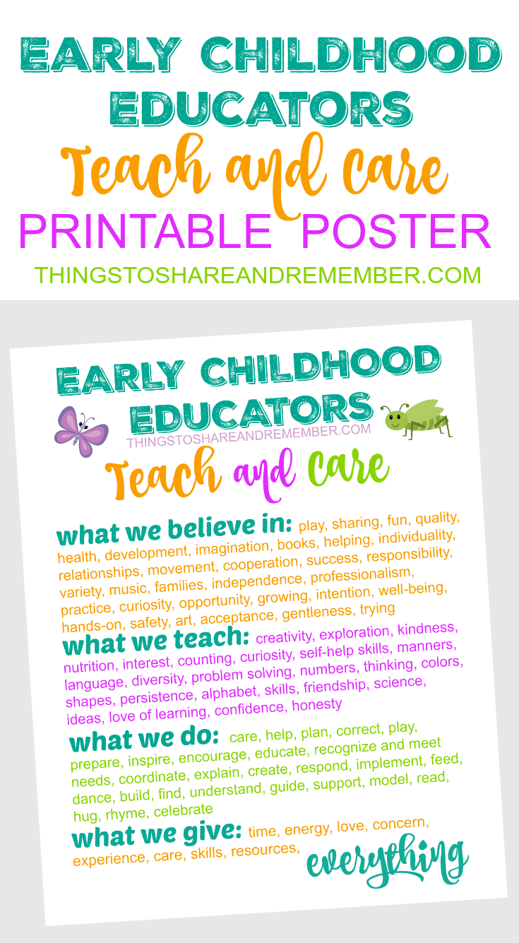 Kinder Garden: Early Childhood Educators TEACH And CARE Printable Poster