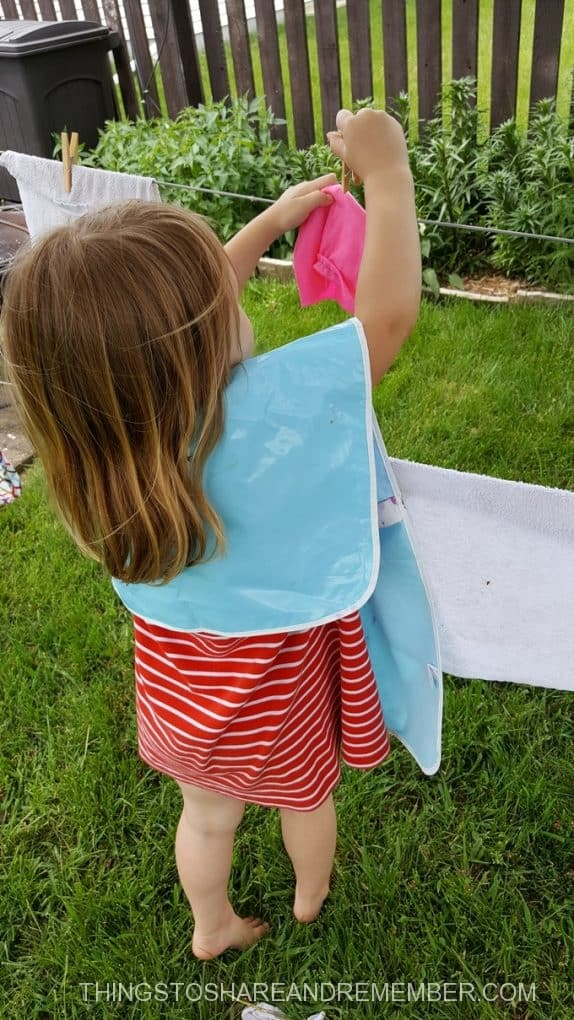 clipping on the clothesline in preschool