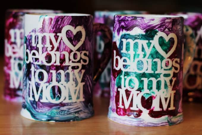 Mother's Day gift idea preschoolers can make - painted mugs for mom