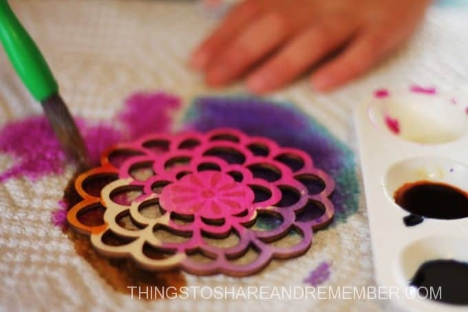 painted wood flower shapes for mother's day