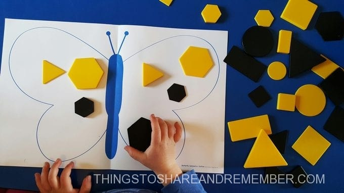 symmetrical butterfly tangram shapes block activity from Mother Goose time Colors of a Monarch lesson