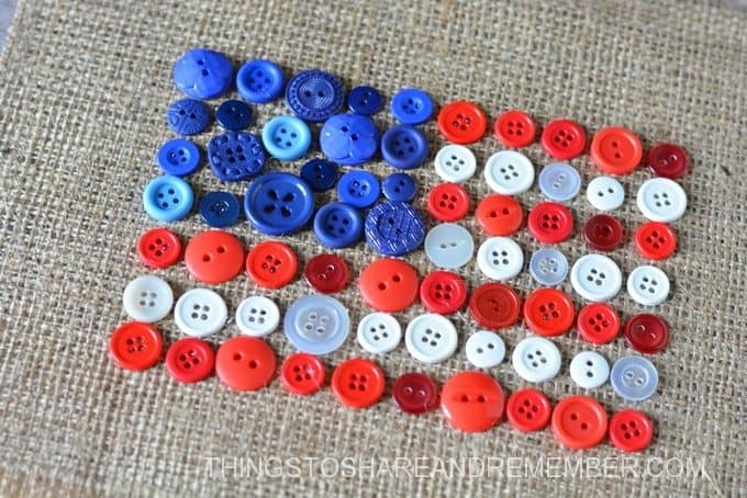 Burlap + Button Flag Craft