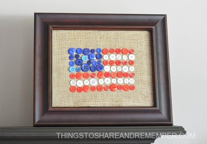 Framed Burlap + Button Flag