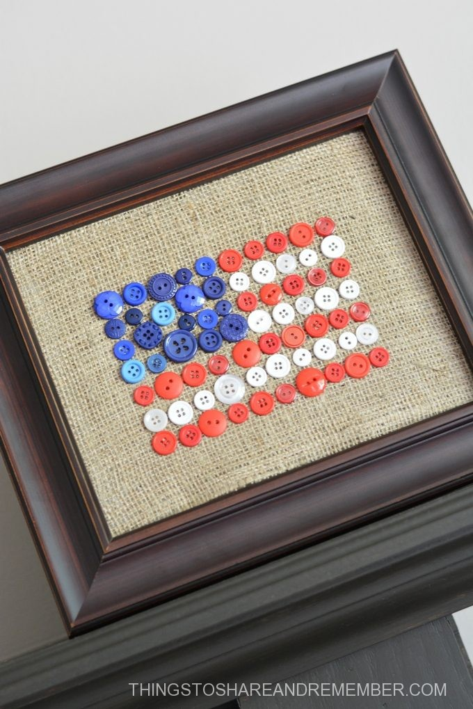 Burlap Button Flag Framed