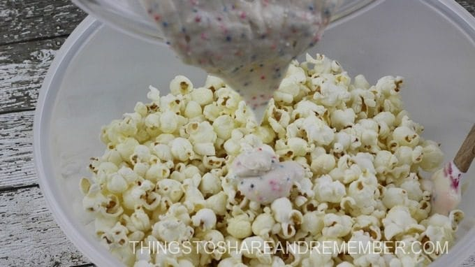 Dory Popcorn Process Mixing in sprinkles