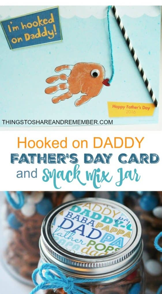 Hooked on Daddy Father's Day Card & Snack Mix Jar