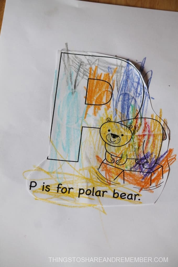 P is for Polar Bear coloring page