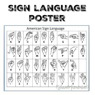 image regarding Sign Language Alphabet Printable identified as Printable Indicator Language Poster