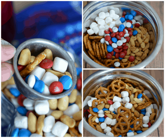 Red White & Blue M&M Snack Mix