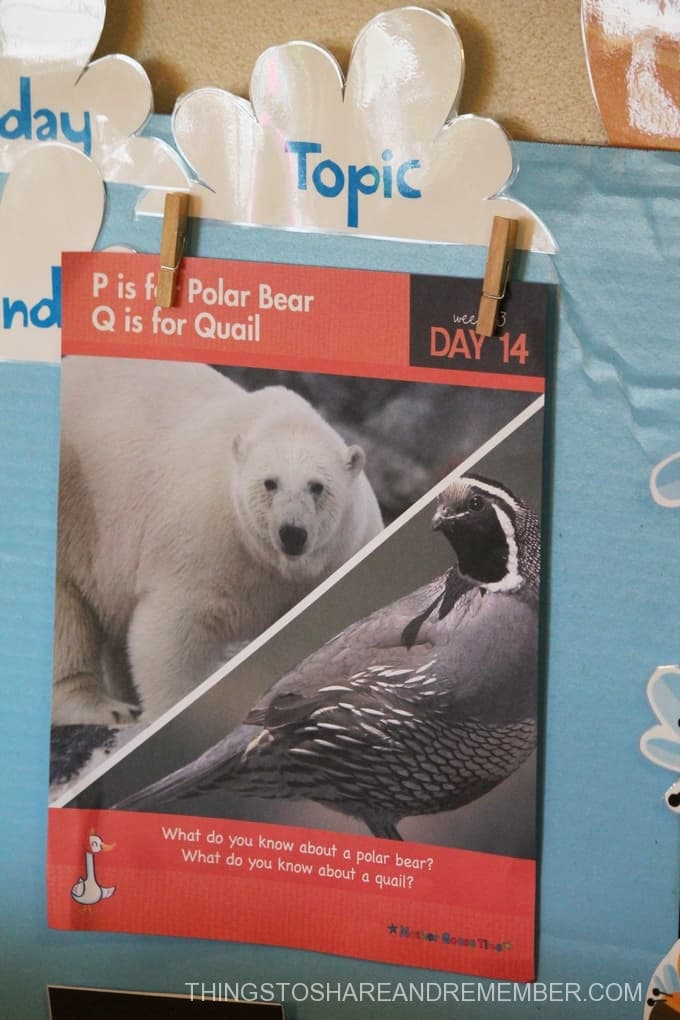 P is for Polar Bear daily topic poster Mother Goose Time