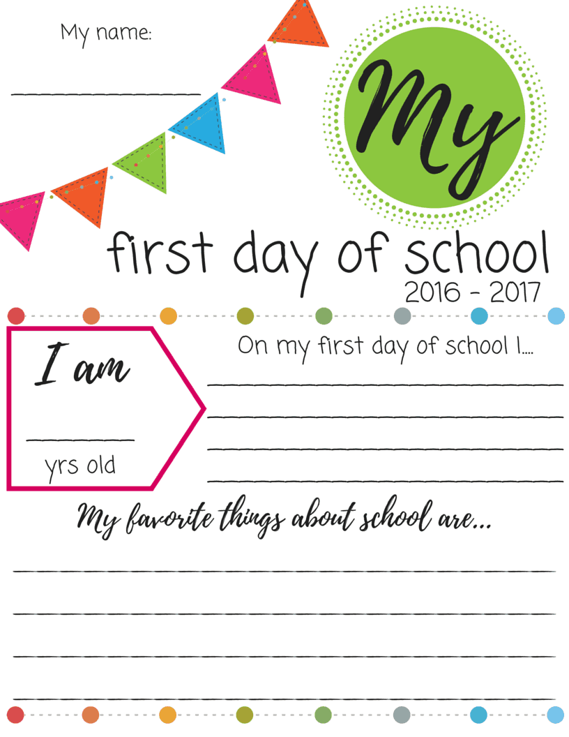 First Day of School Printable Signs – First Day of School Worksheet