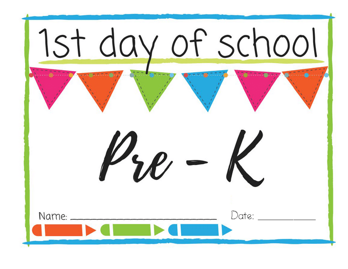picture about First Day of Pre K Sign Printable known as Very first Working day of Higher education Printable Indications