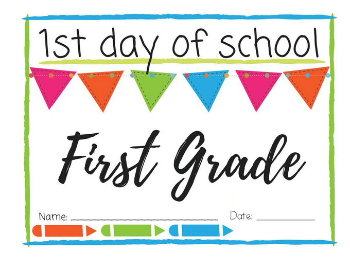 photograph about First Day of 1st Grade Printable titled To start with Working day of College or university Printable Indications