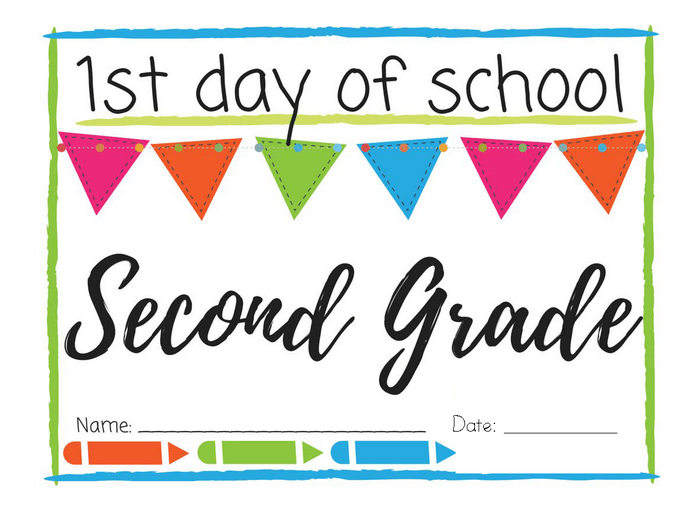photo relating to First Day of Second Grade Printable Sign called 1st Working day of College Printable Signs and symptoms