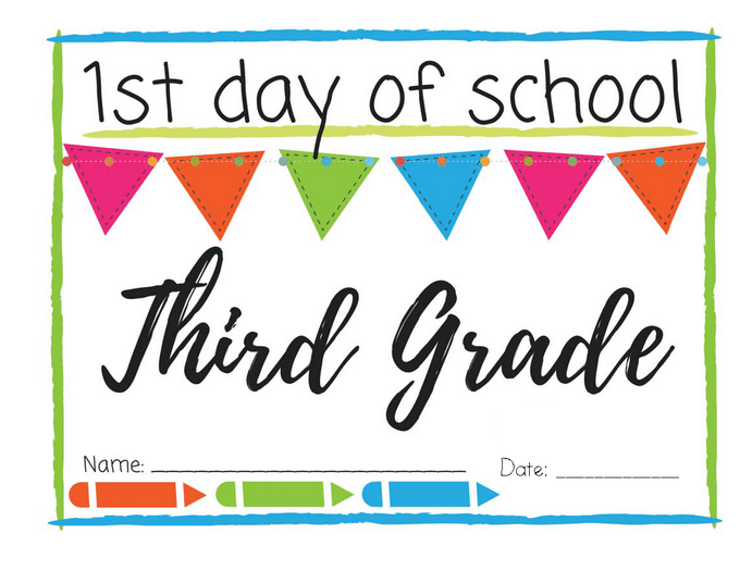 graphic relating to First Day of 3rd Grade Sign Printable titled To start with Working day of Faculty Printable Symptoms