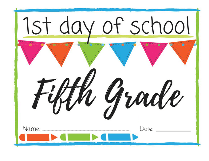 picture about First Day of 5th Grade Printable identify To start with Working day of College Printable Indications