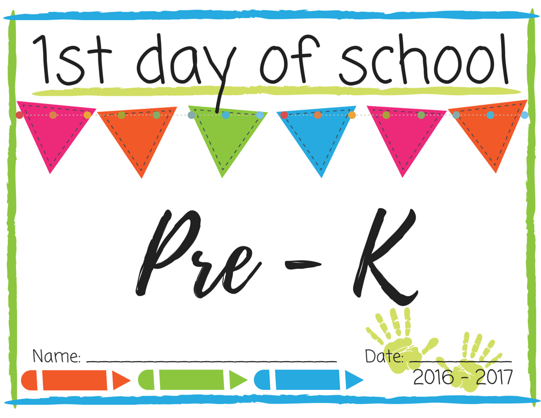 This is a photo of Nifty First Day of Pre K Printable Sign