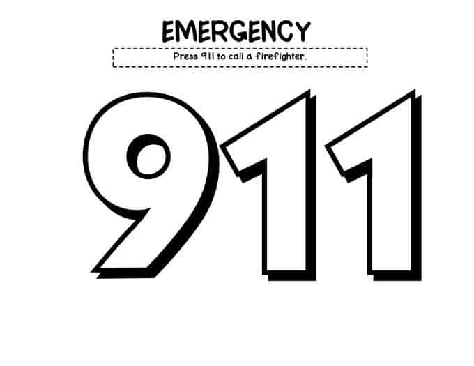 my fire safety book whats the number emergency 911 - Fire Safety Coloring Pages