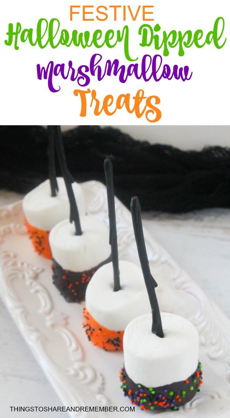 Festive Halloween Dipped Marshmallow Treats