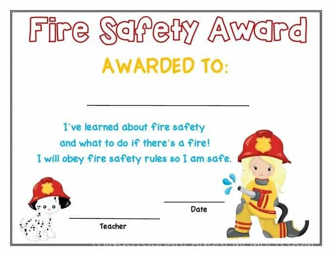 preschool fire safety booklet printables fire safety award girl >>>>