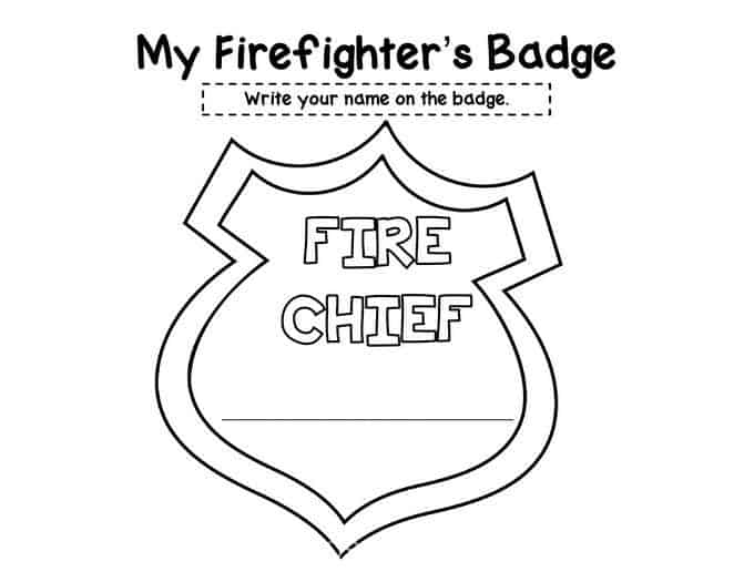 Fire department badge coloring page sketch coloring page for Police badge template for preschool