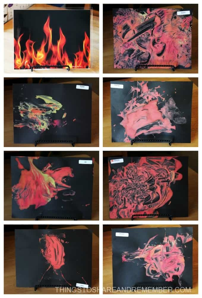 fire-paintings-collage preschool process art firefighter theme